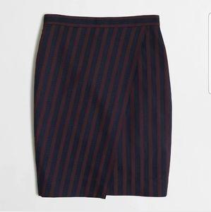 JCrew Navy/Wine striped Pencil Skirt